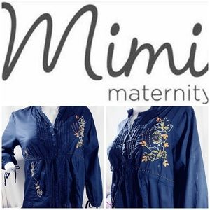 Mimi Maternity Blue Embroidered Blouse